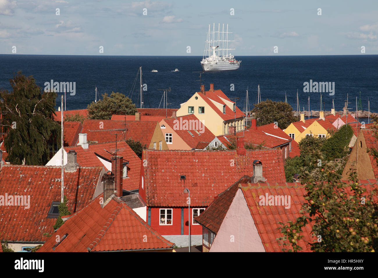 Club Med 2, a sailing ship with 5 masts moored off the small town of Svaneke, on the Baltic island of Bornholm, Stock Photo
