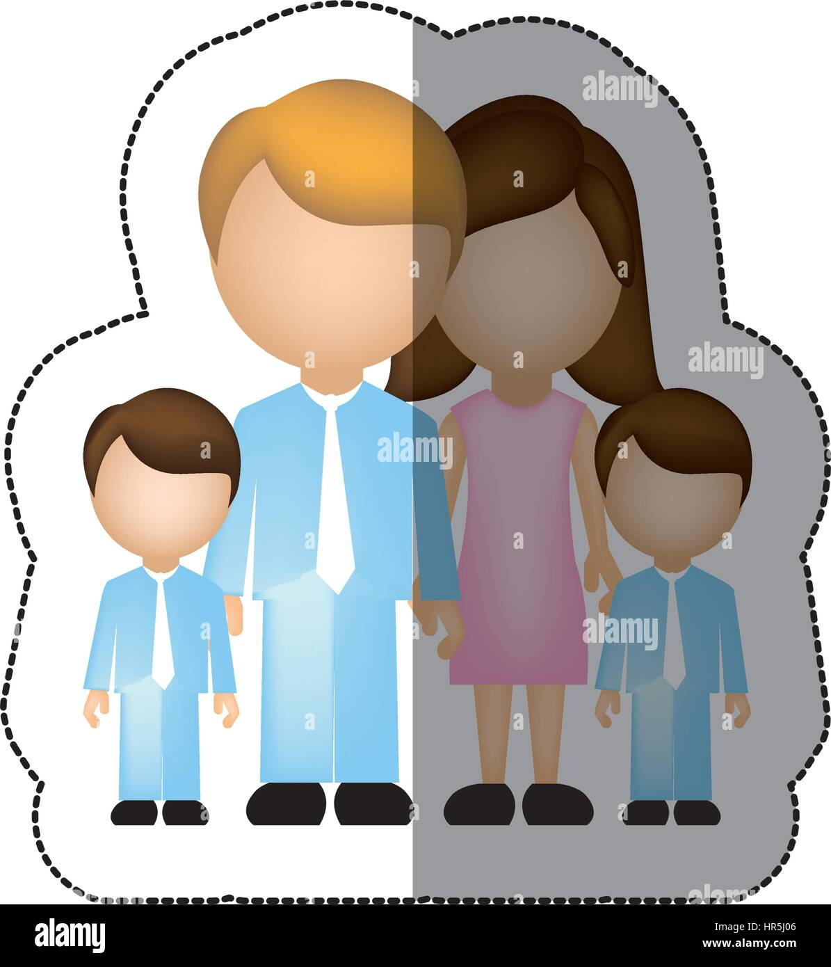 color family their boys twins icon - Stock Vector