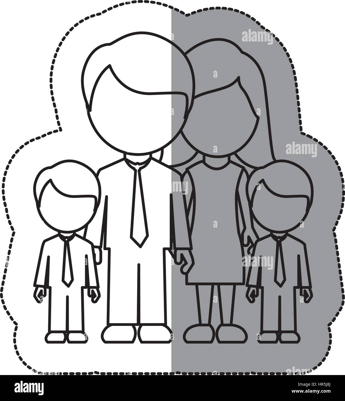silhouette family their boys twins icon - Stock Vector