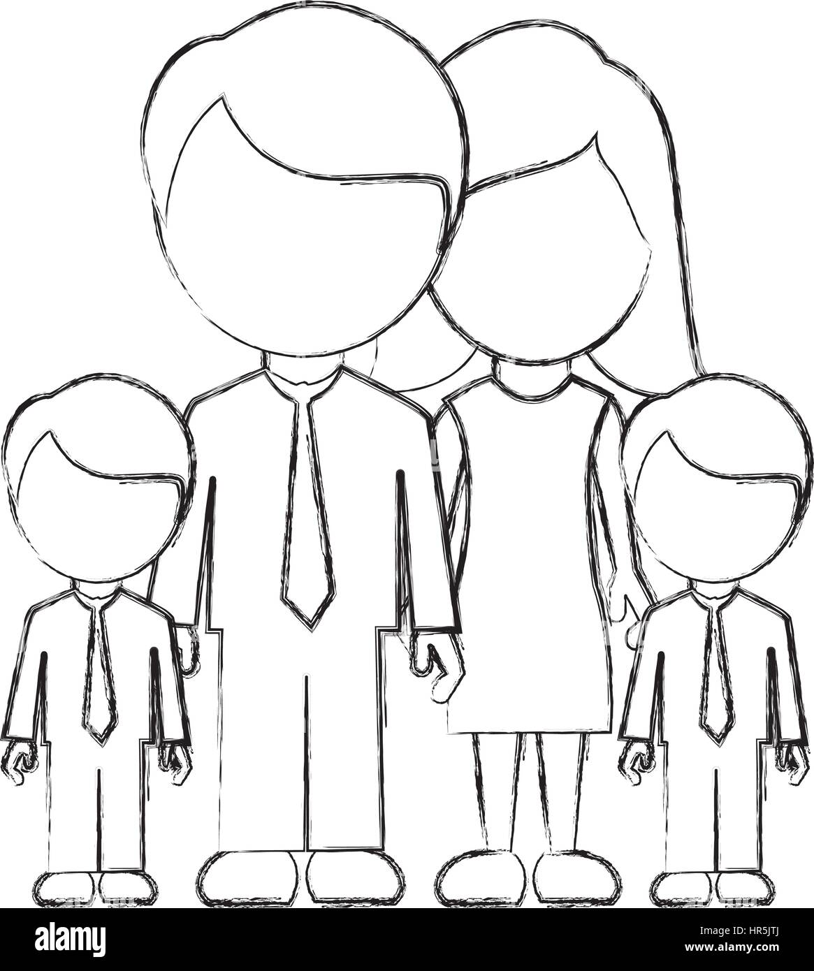 figure family their boys twins icon - Stock Vector