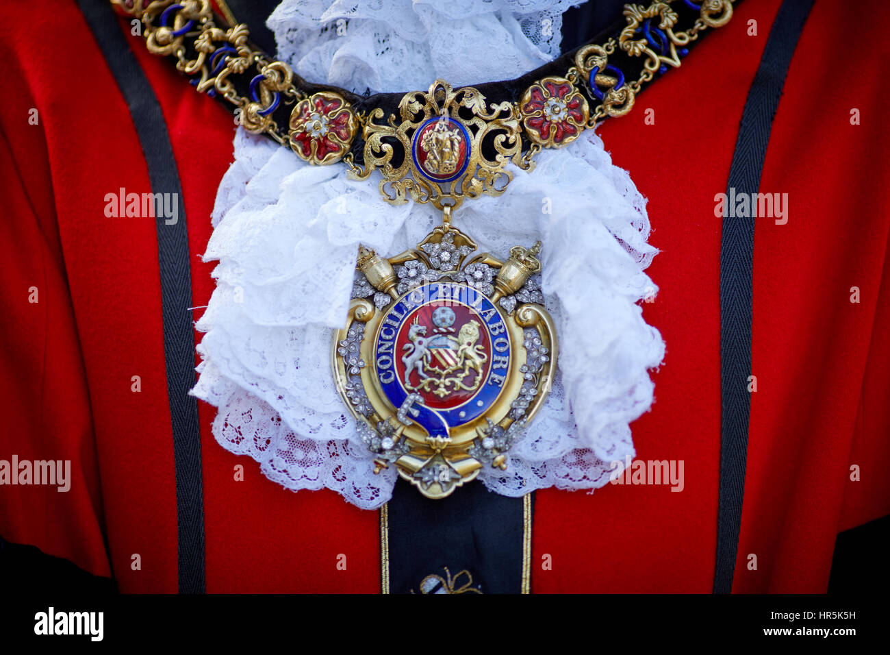 Close up of the Lord Mayor of Manchester's livery collar, chain of office collar of gold heavy chain worn as - Stock Image