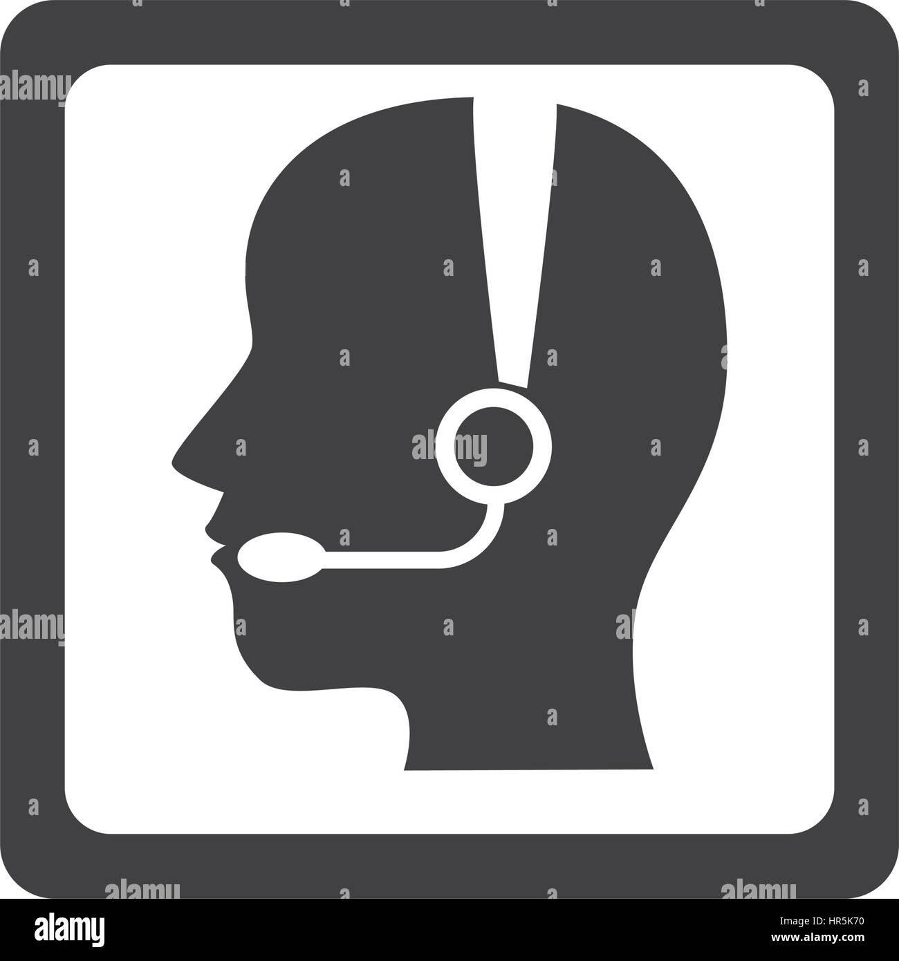 monochrome square button with call center operator with handset - Stock Image