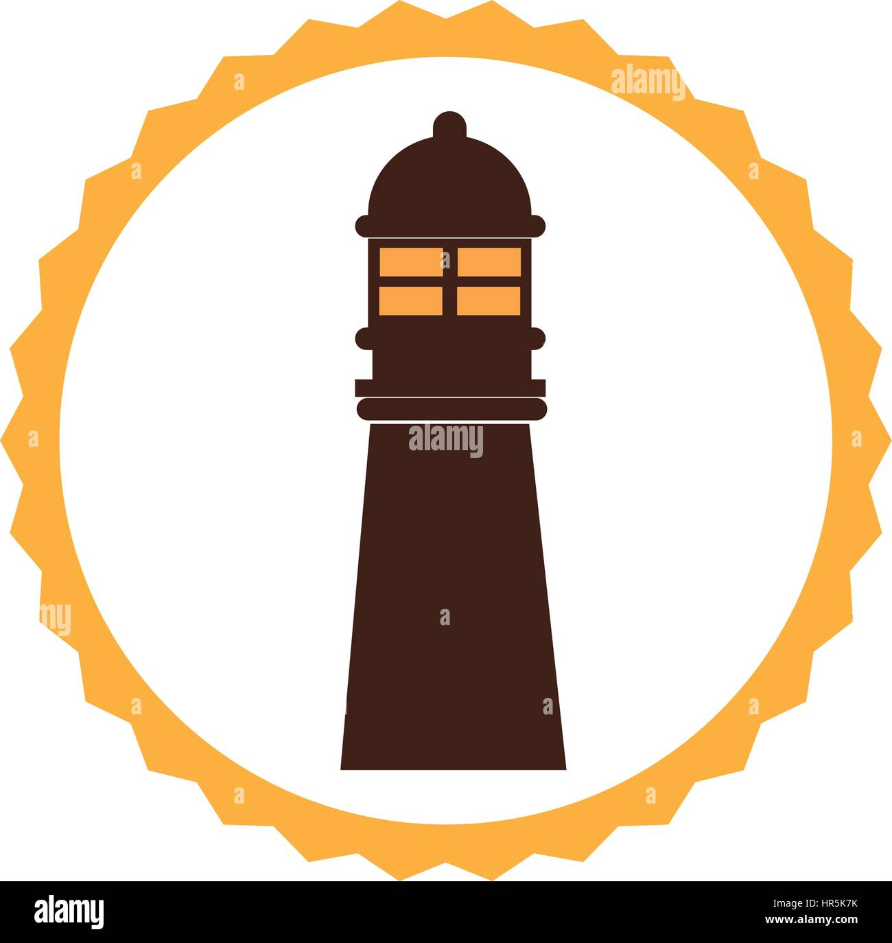 circular frame with tower of lighthouse - Stock Vector