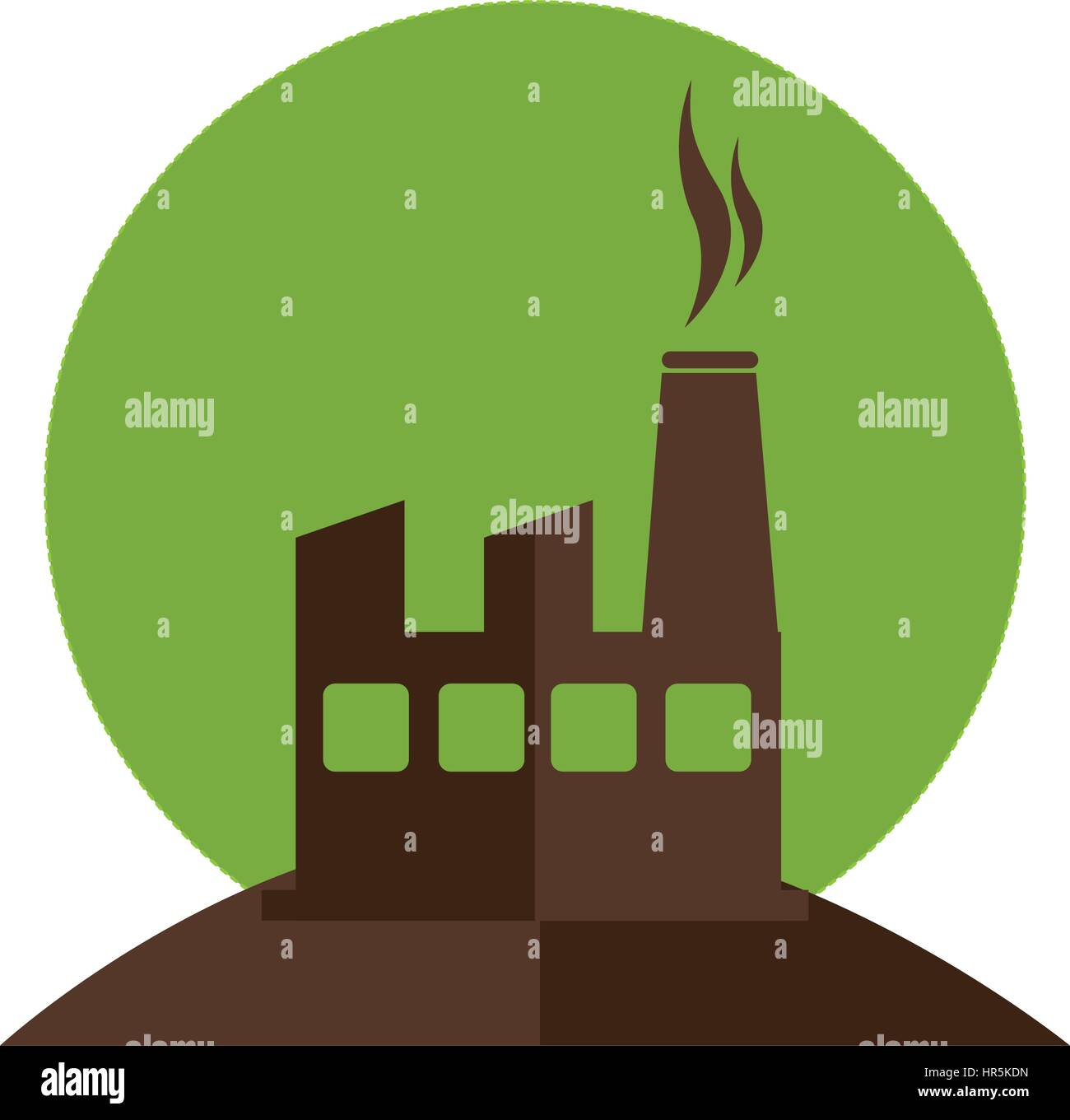 color silhouette with factory and smoke contamination - Stock Image