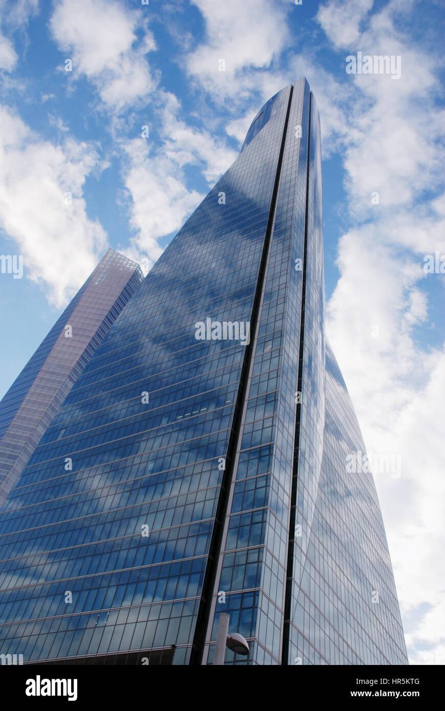 Espacio tower, view from below. CTBA, Madrid, Spain. - Stock Image