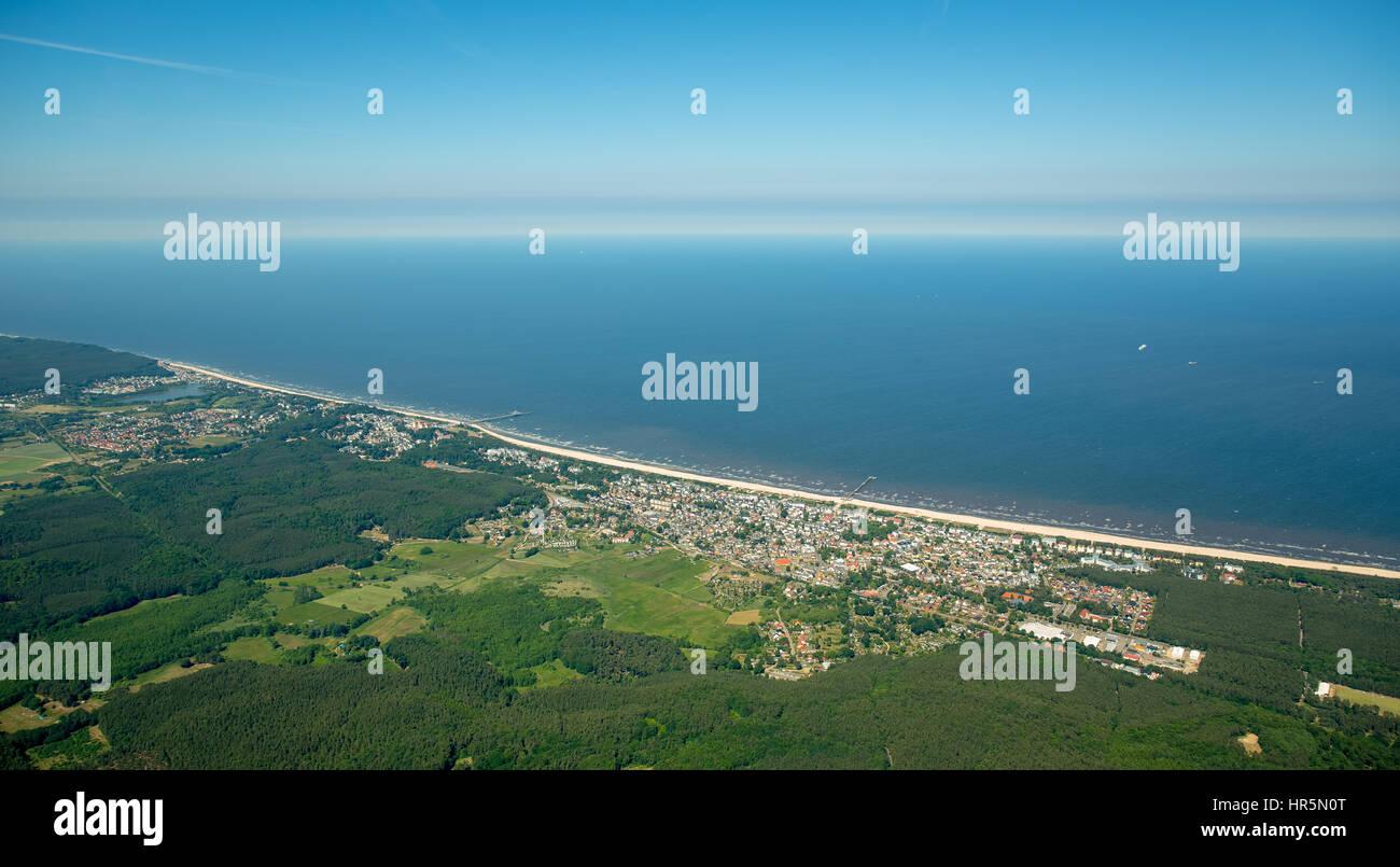 Seebad Ahlbeck, Strand von Heringsdorf, Insel Usedom,  Korswandt, Ostsee, Mecklenburg-Vorpommern, Deutschland - Stock Image
