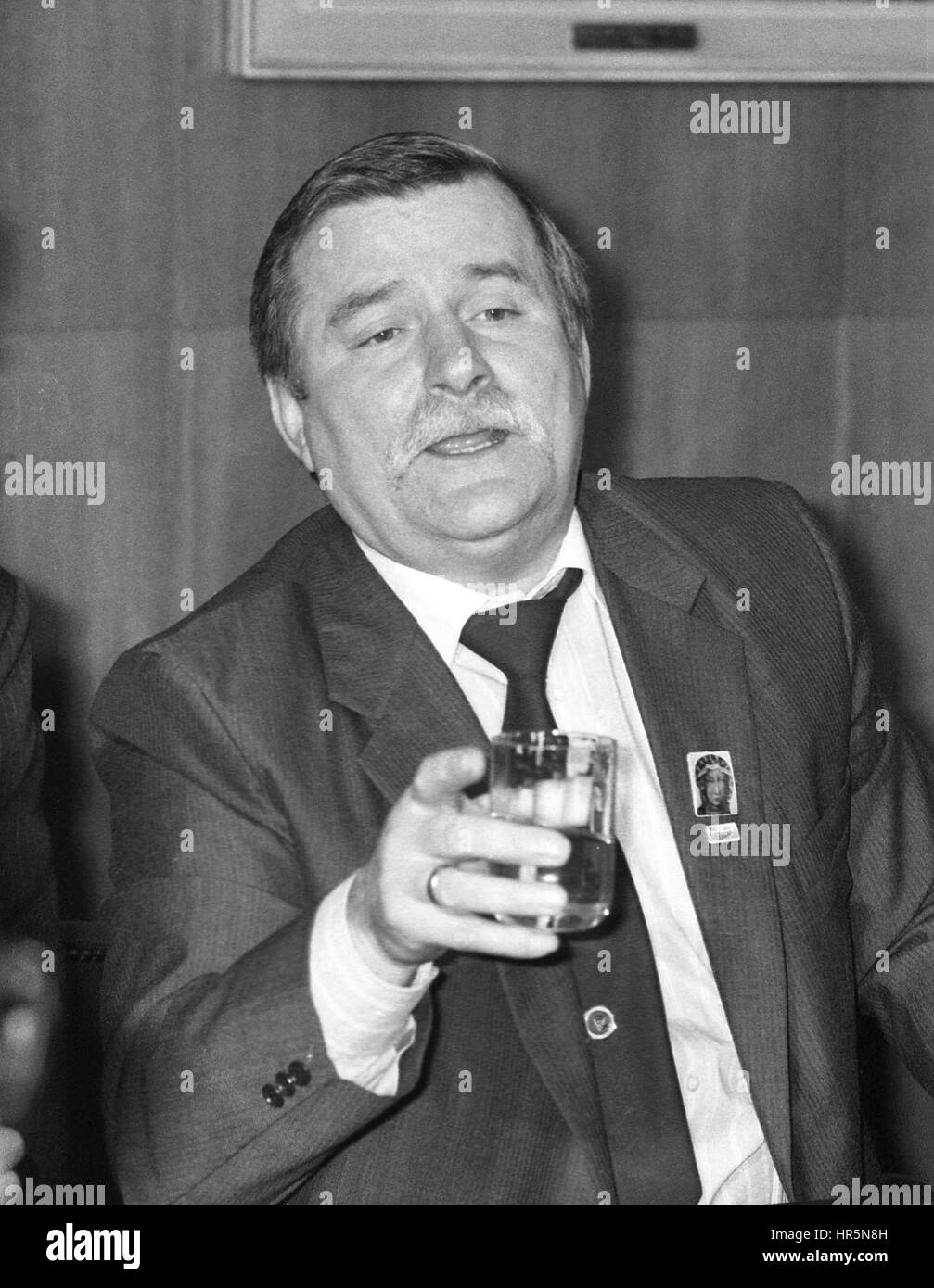 Lech Walesa, President of Poland, attends a press conference at the Trades Union Congress in London, England on - Stock Image