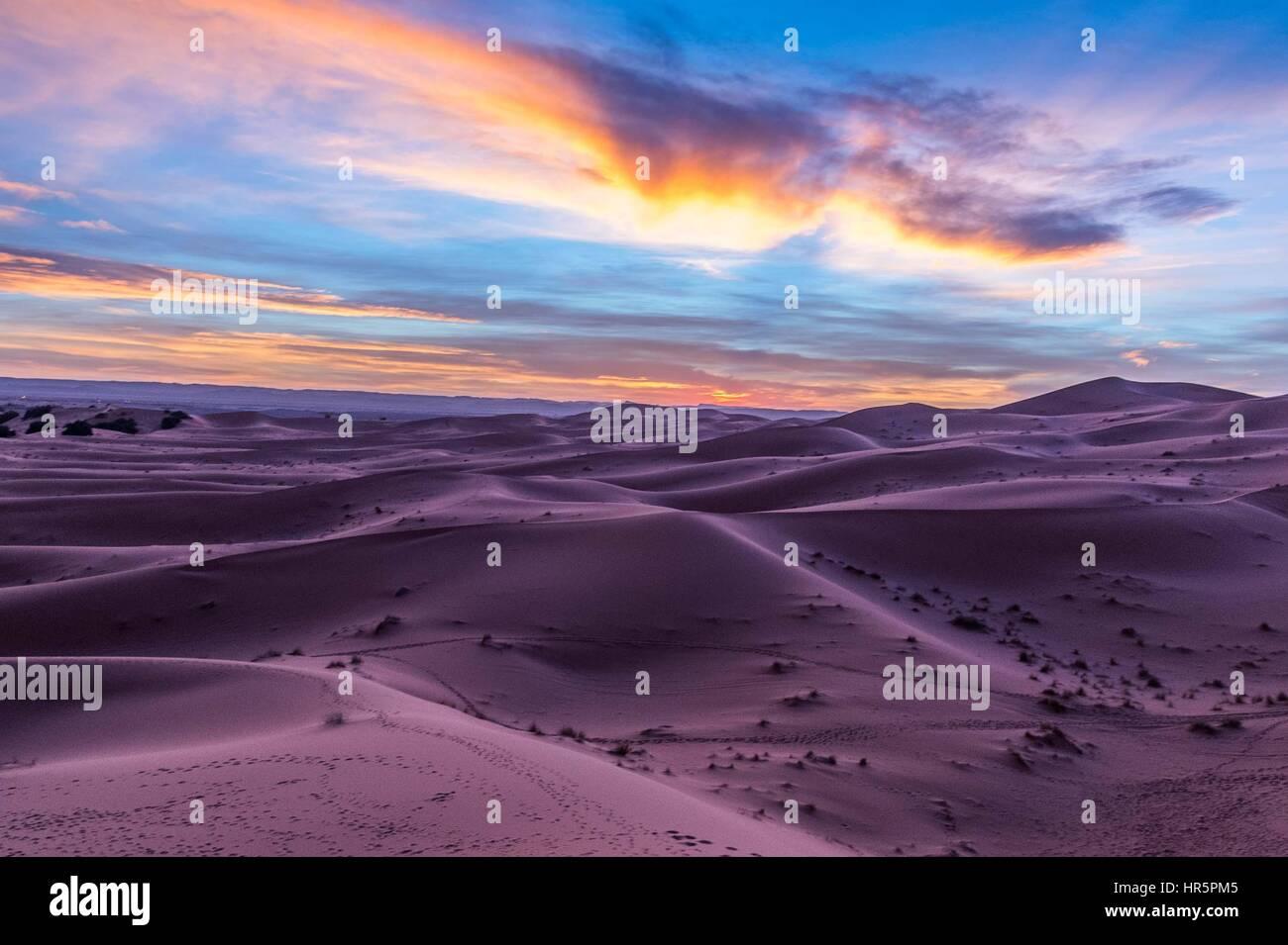Pink colour for sunset in the Sahara desert - Stock Image