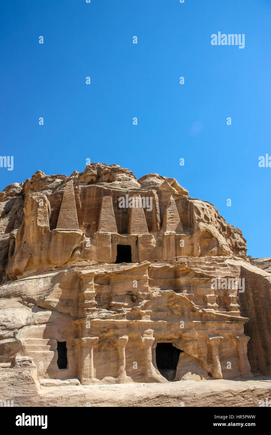 Scenic view Obelisk Tomb and the Triclinium in Petra, Jordan - Stock Image