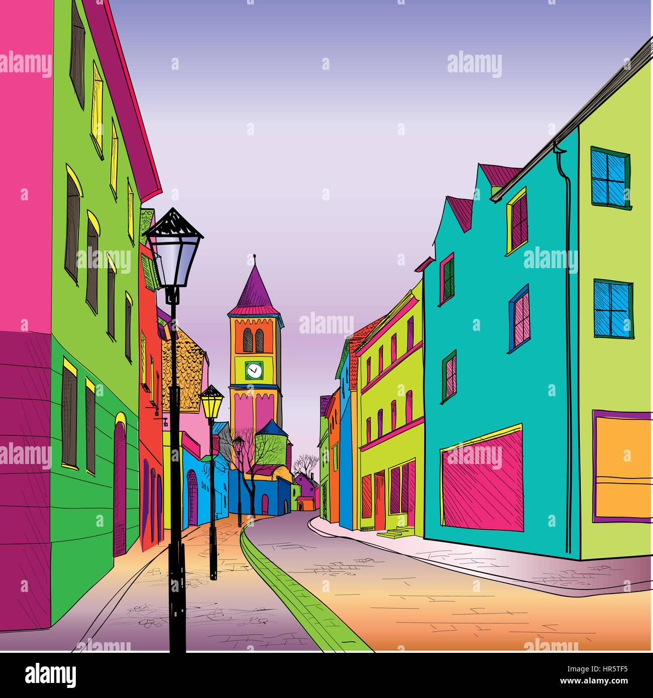 Funky journey. Pedestrian street in European city. Colorful panorama city vector background in 1960s pop art style. Stock Vector