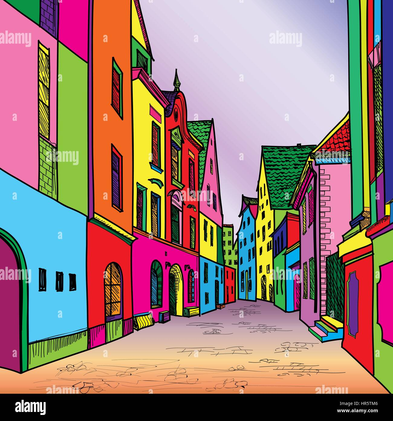 Funky journey. Predistant street in euoropean city. Colorful panorama city vector background in 1960s pop art style. Stock Vector