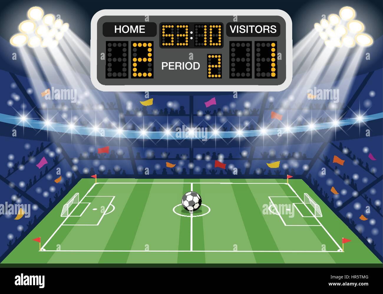 Soccer stadium with scoreboard - Stock Vector