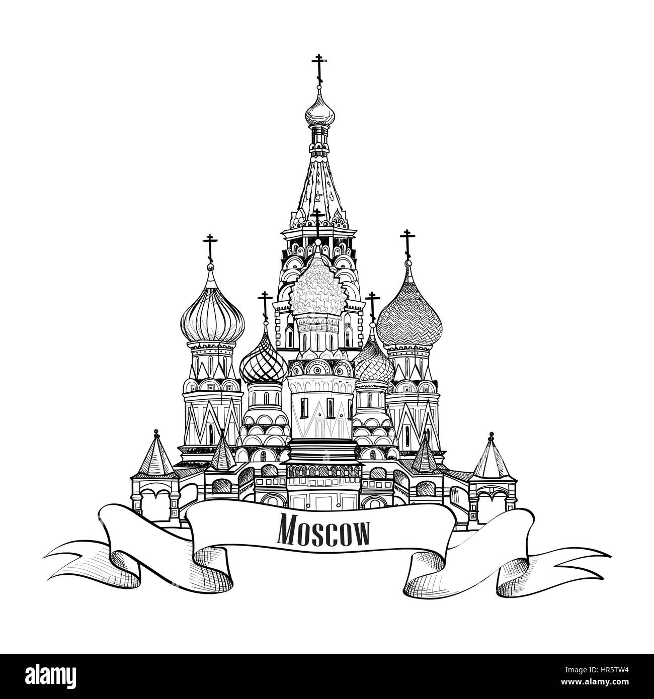 Moscow City Symbol. St Basil's Cathedral, Red Square, Kremlin, Moscow, Russia. Travel icon vector hand drawn - Stock Image