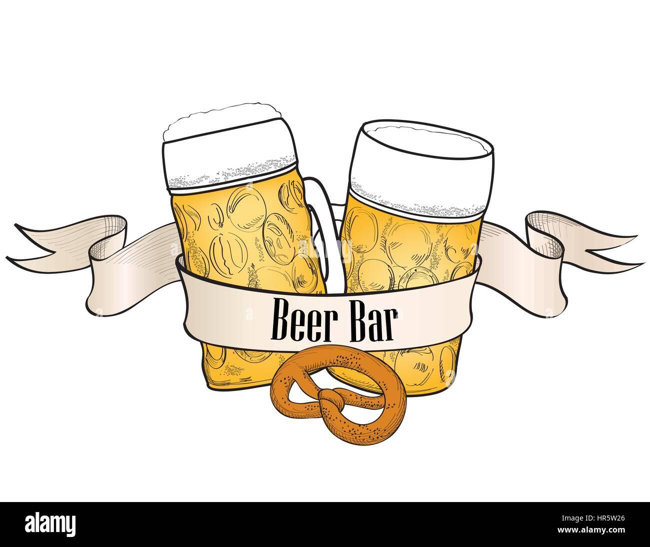 Beer Ware Background In Retro Style Beer Mug Banner Beer Glass Stock Vector Image Art Alamy