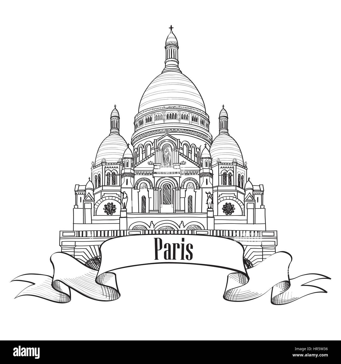 Paris landmark The Basilica of the Sacred Heart of Paris building. Montmartre symbol. Travel Paris engraved sign. - Stock Image