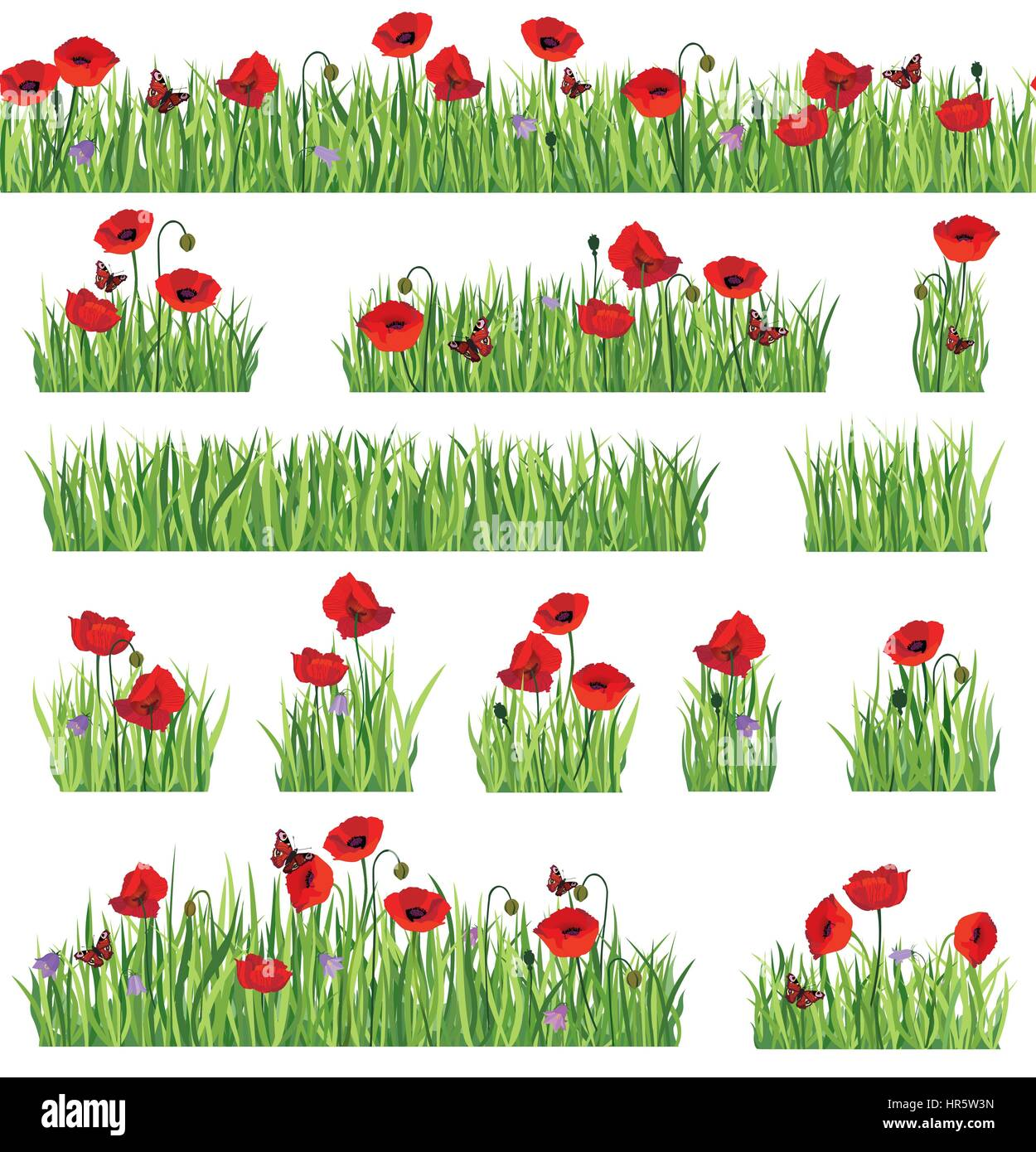 Grass border background set. Summer icon and seamless floral frame collection. - Stock Vector