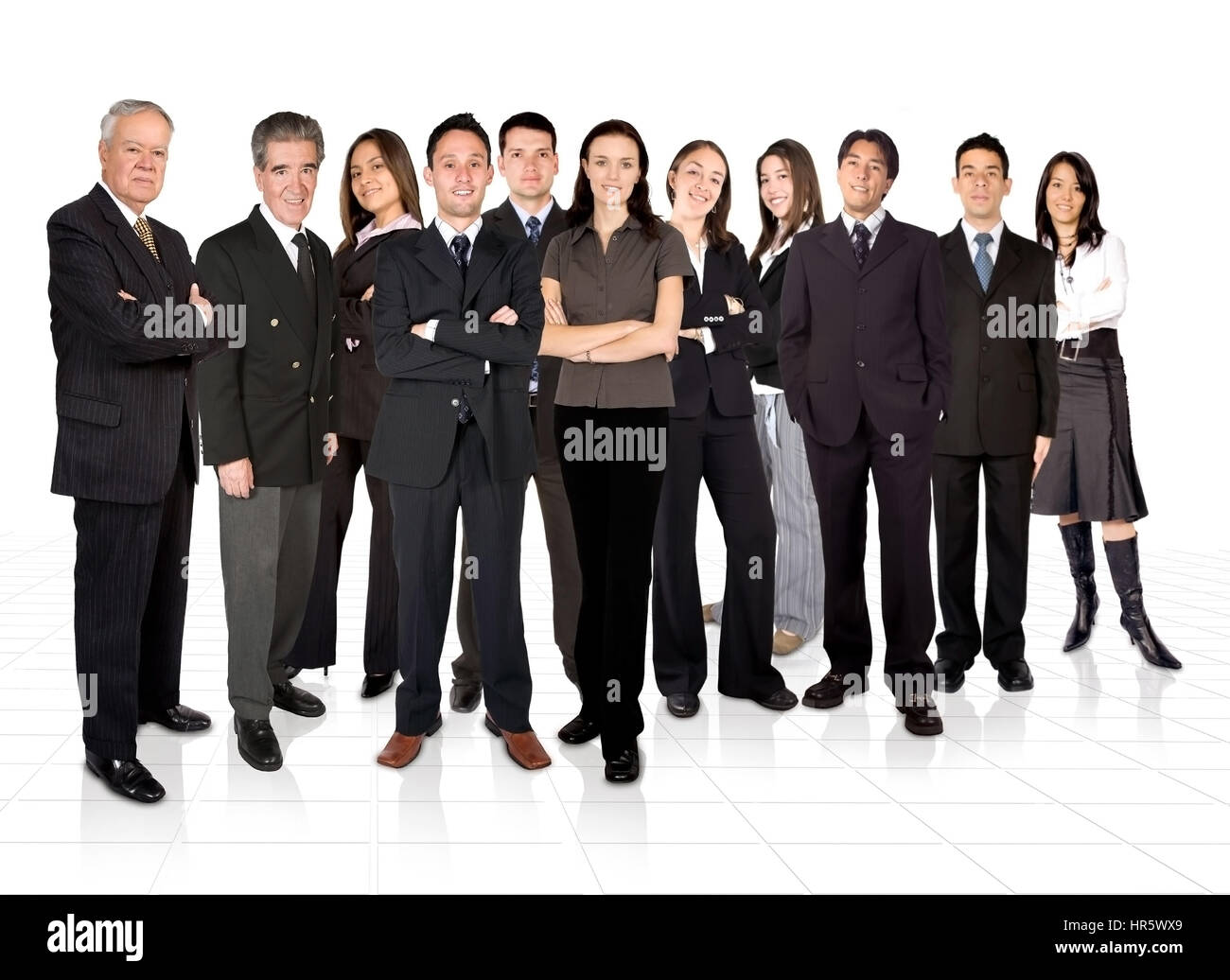 business team formed by young and old people - Stock Image