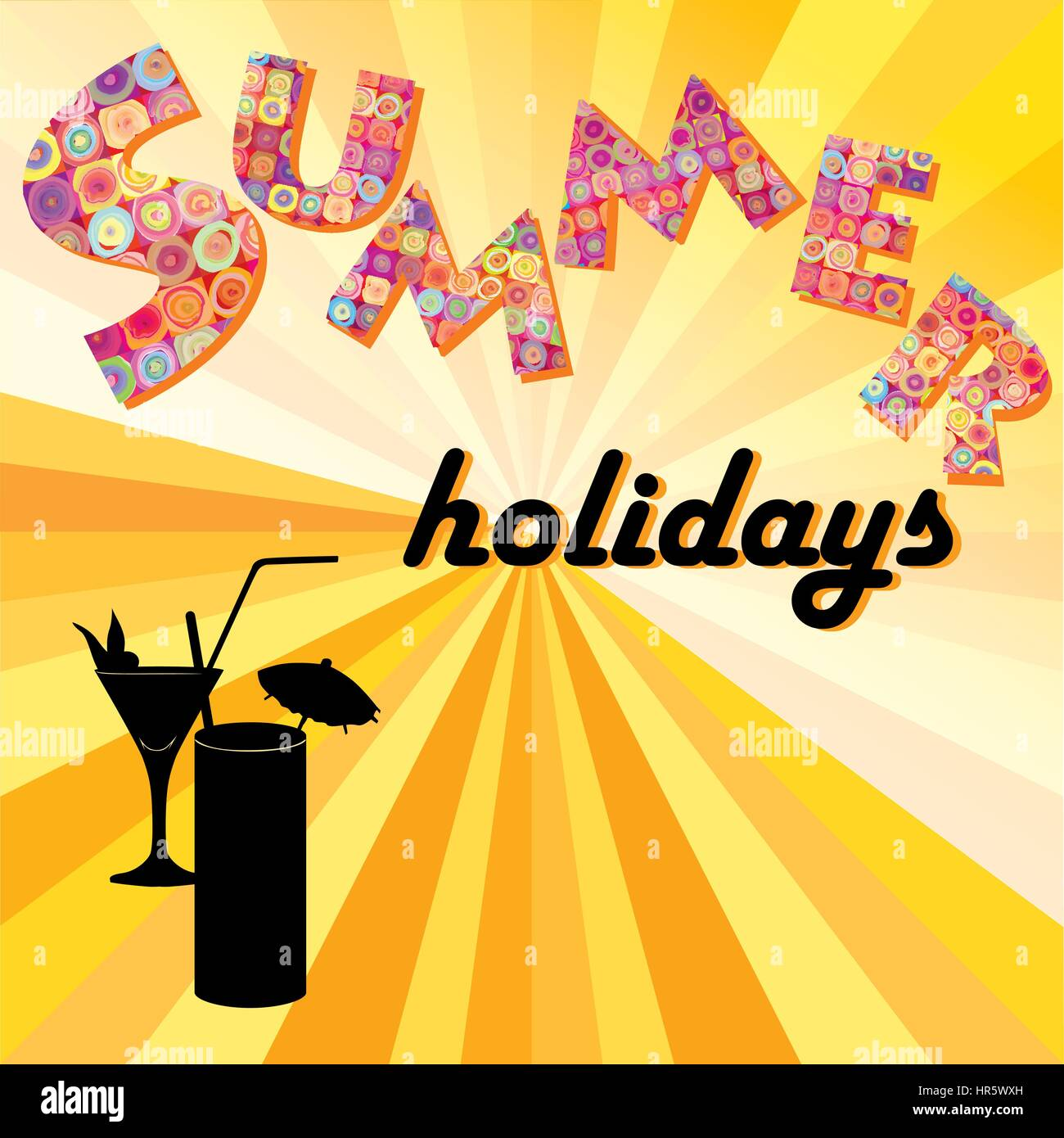 Awesome Hello Summer Background. Summer Holidays Cover With Sun And Ray Beams. Hello  Summer Greeting Card