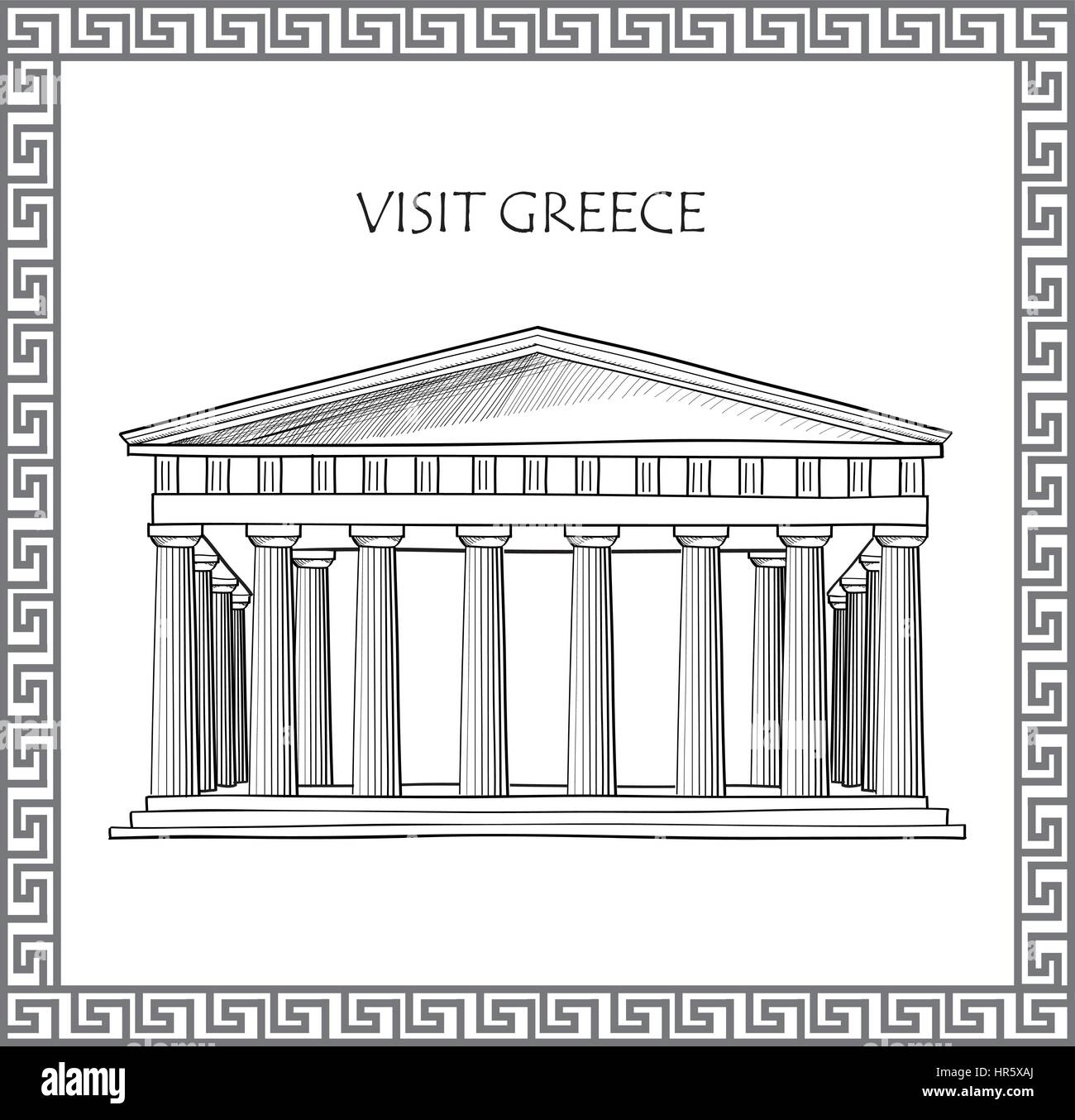 Acropolis in Athens, Greece. Visit Greece card. Ornamental traditional greek vector frame. - Stock Vector
