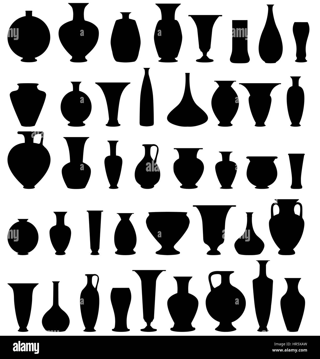 Pot Pottery Vases Flower Home Interior Decoration. Vector Icon Collection.