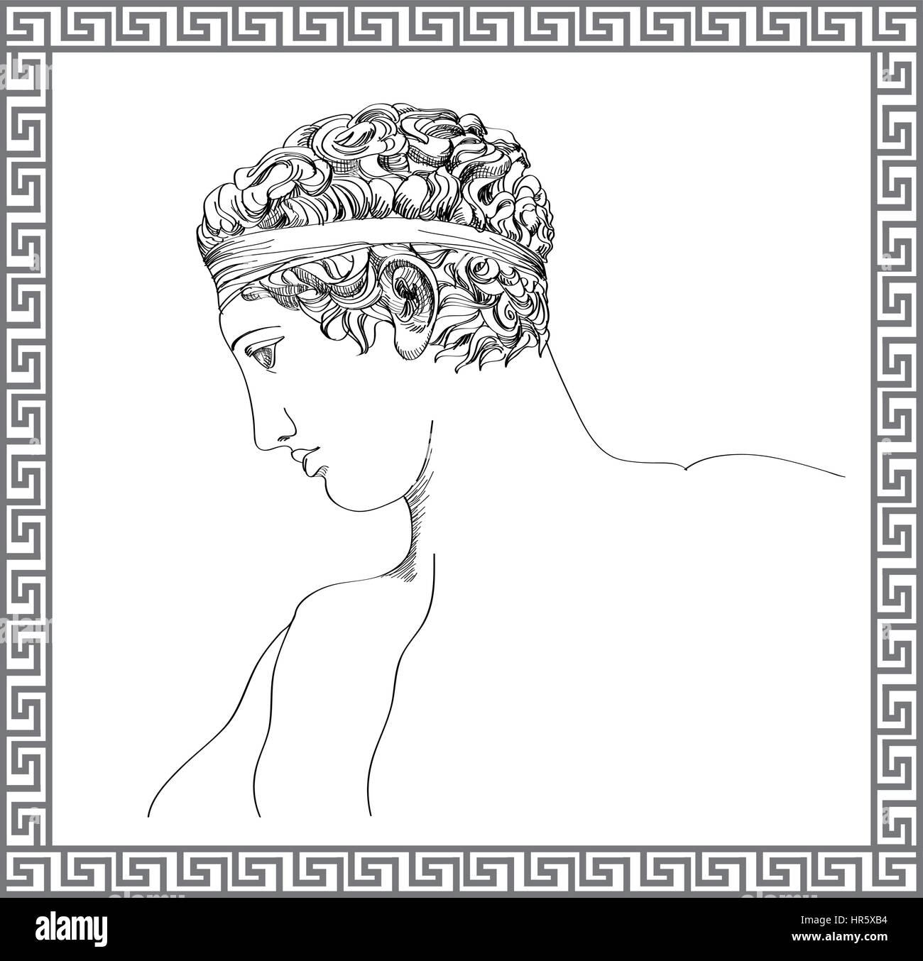 Greek sculpture. Vector hand drawn sketch. Engraving mans portrait. Travel Greece illustration - Stock Vector