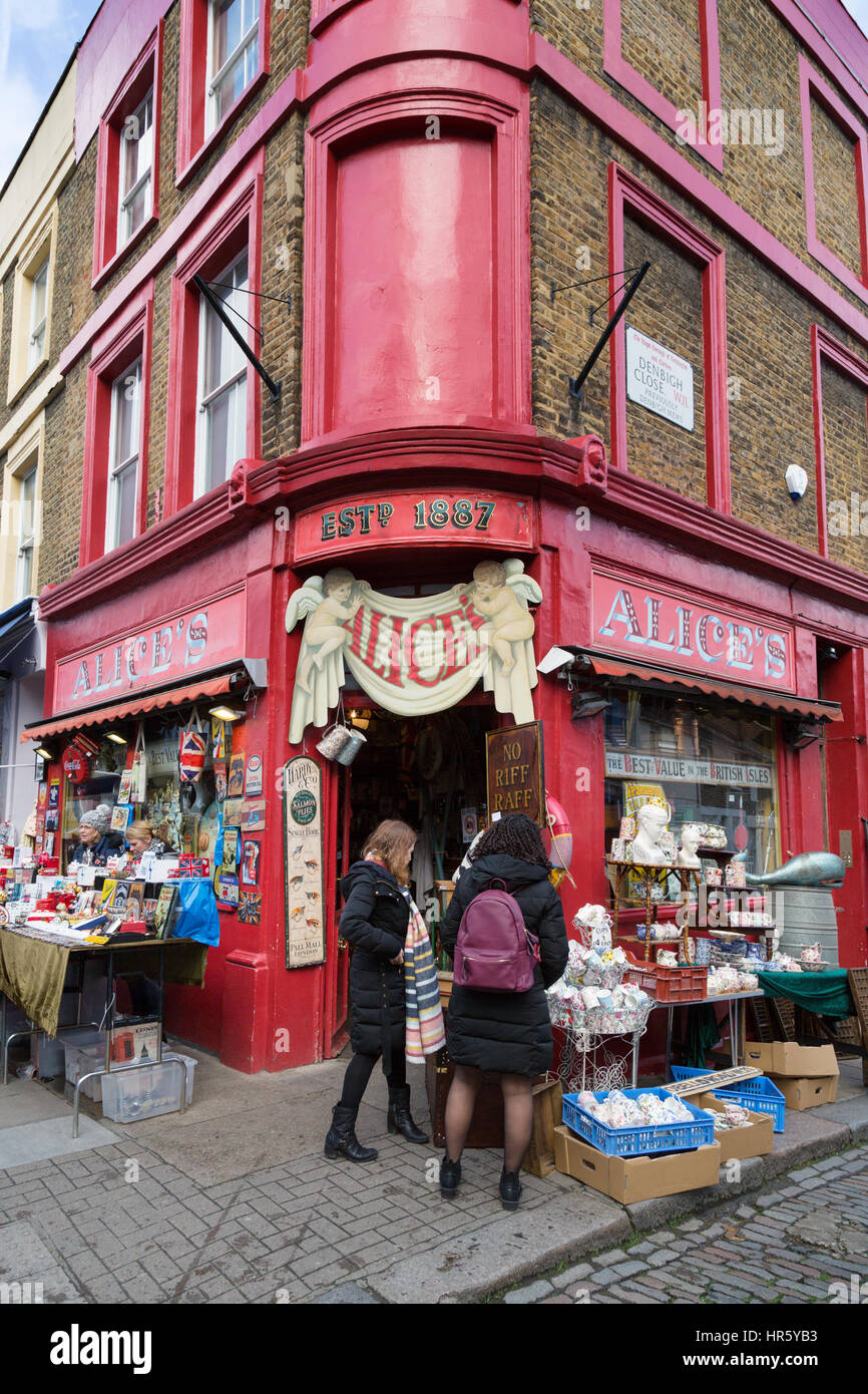 Alices Shop for second hand goods, Portobello Road, Notting Hill, London England UK - Stock Image