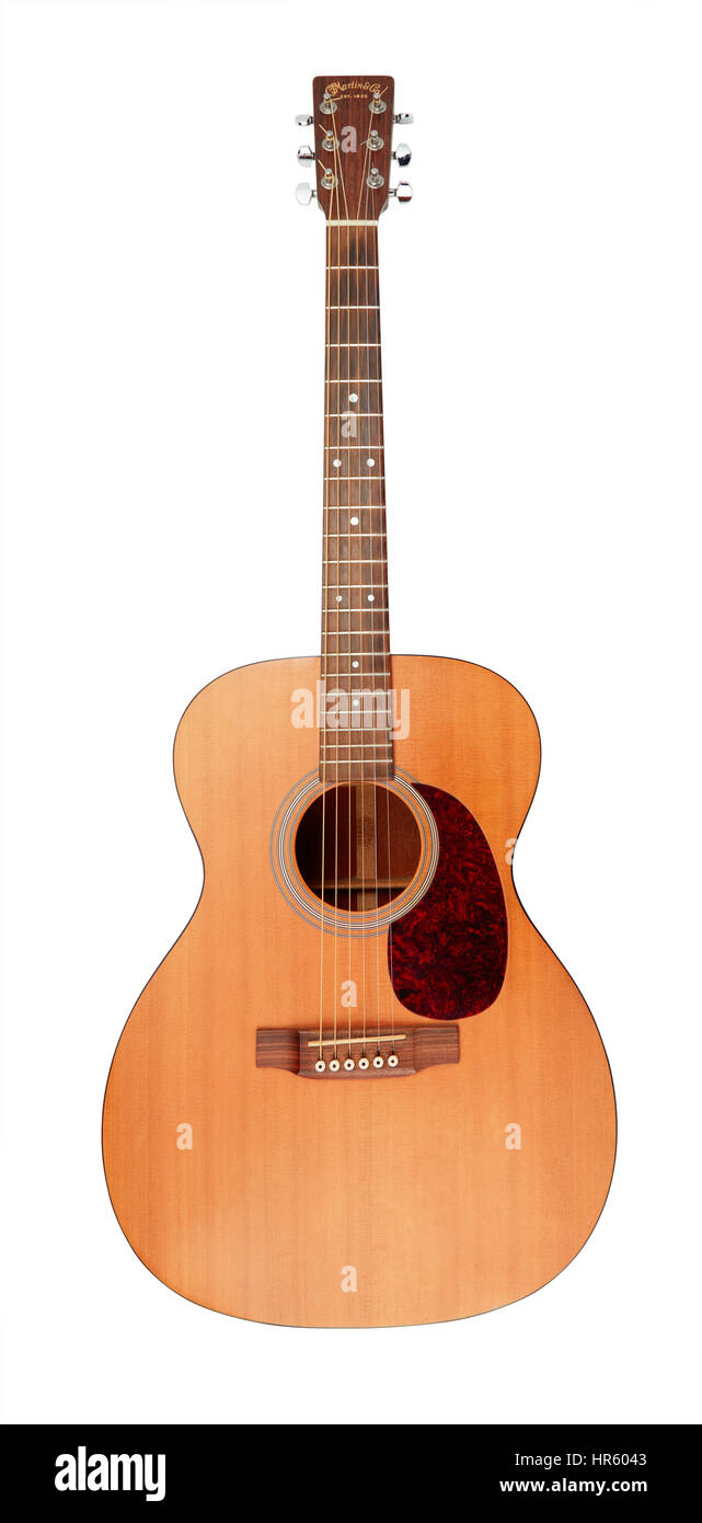 Martin 0001 guitar on white background - Stock Image
