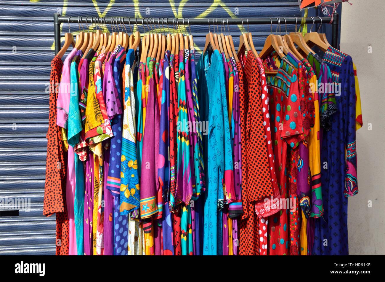 e815ad9c3f Indian sari dresses on display outside a shop Stock Photo: 134742707 ...