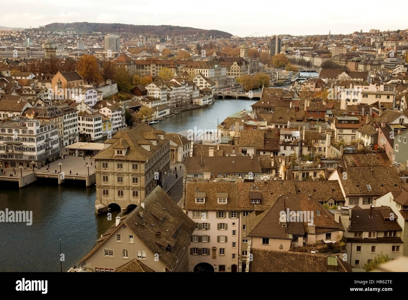 zurich skyline - river view - aged colours - Stock Image