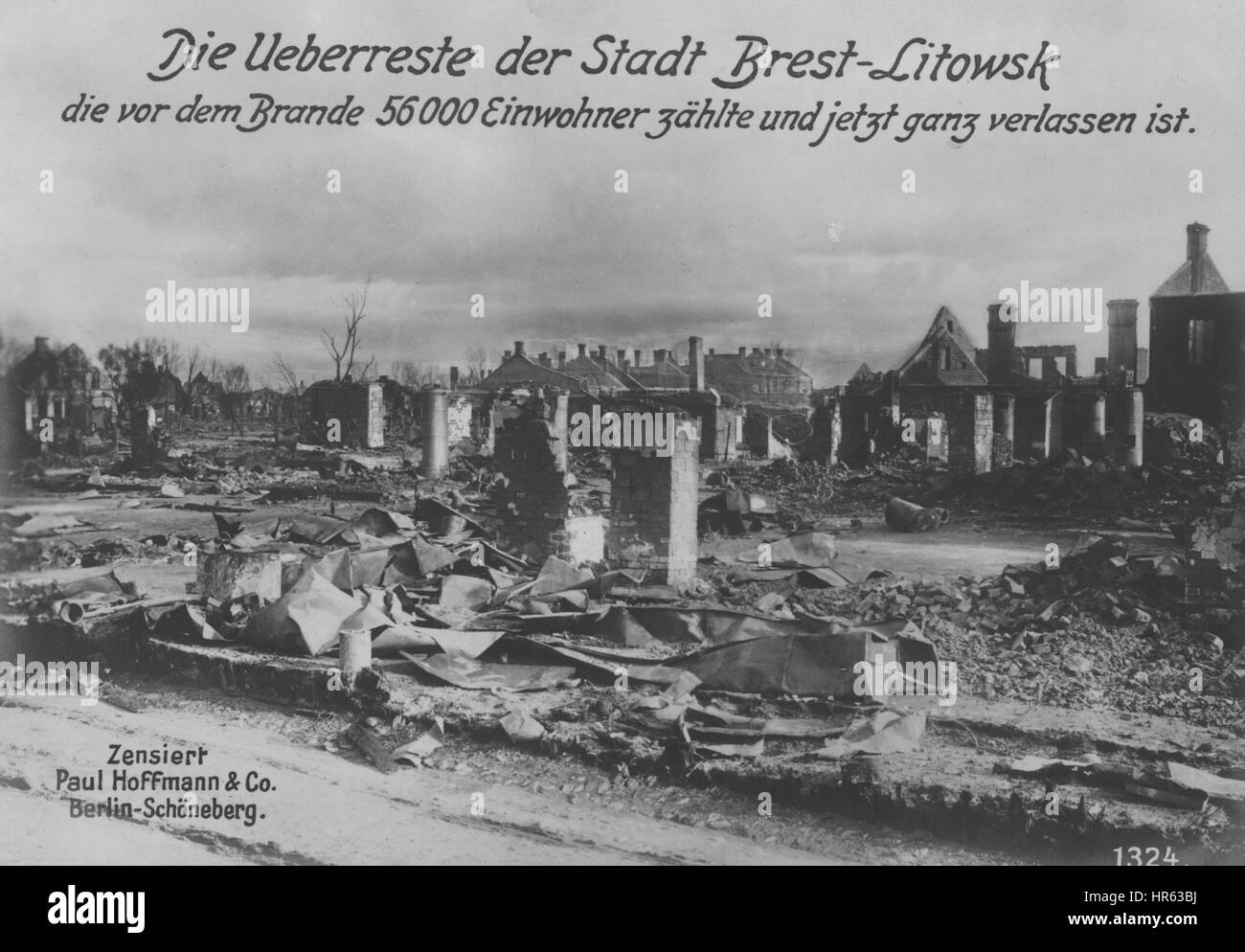 The remains of the burned down city of Brest-Litovsk, Belarus, where a treaty was signed that ended Russia's - Stock Image