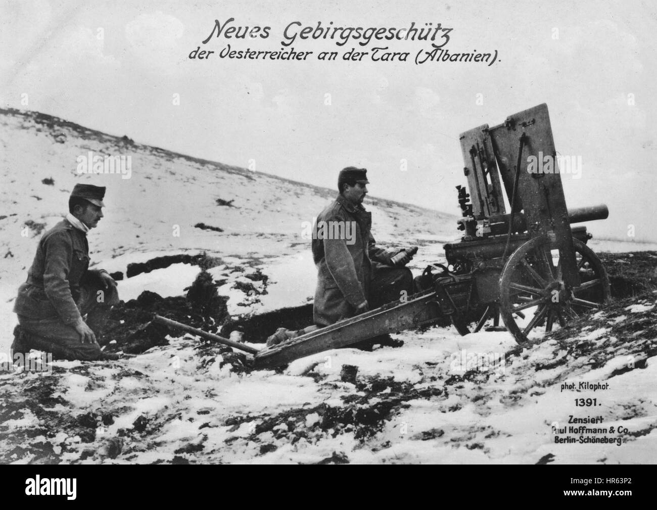 German World War I photographic postcard depicting troops on a mountain range in Albania, 1915. From the New York - Stock Image