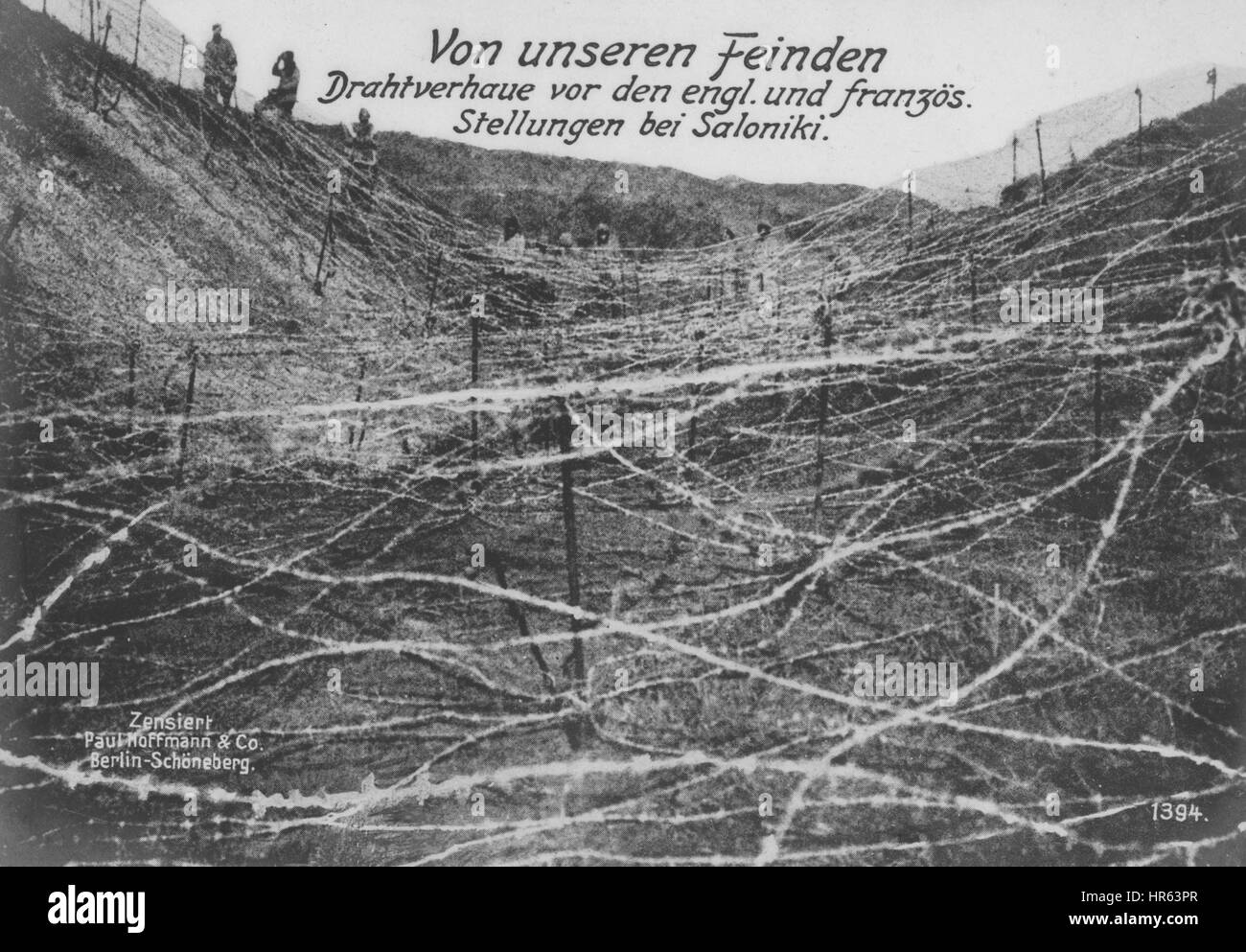German World War I photographic postcard depicting wire barriers set ...