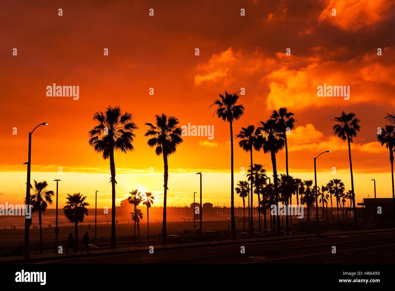 Huntington Beach California Sunset Stock Photo Alamy