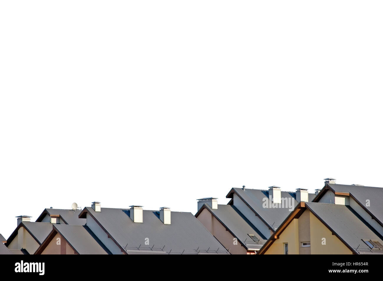 Rowhouse condos roofs panorama, isolated condo apartments rooftops - Stock Image