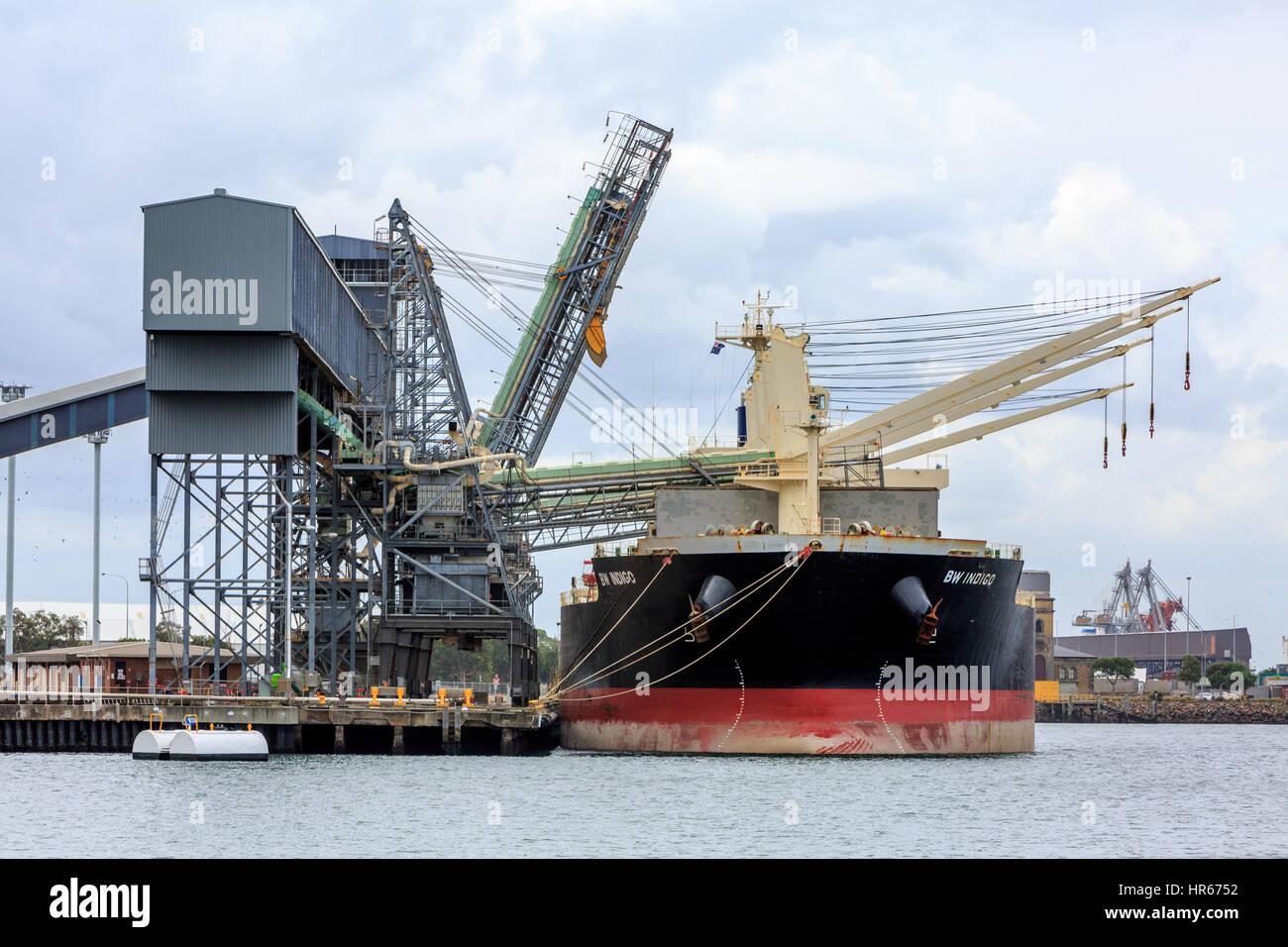 BW Indigo bulk carrier vessel in Newcastle port, new south wales,australia - Stock Image