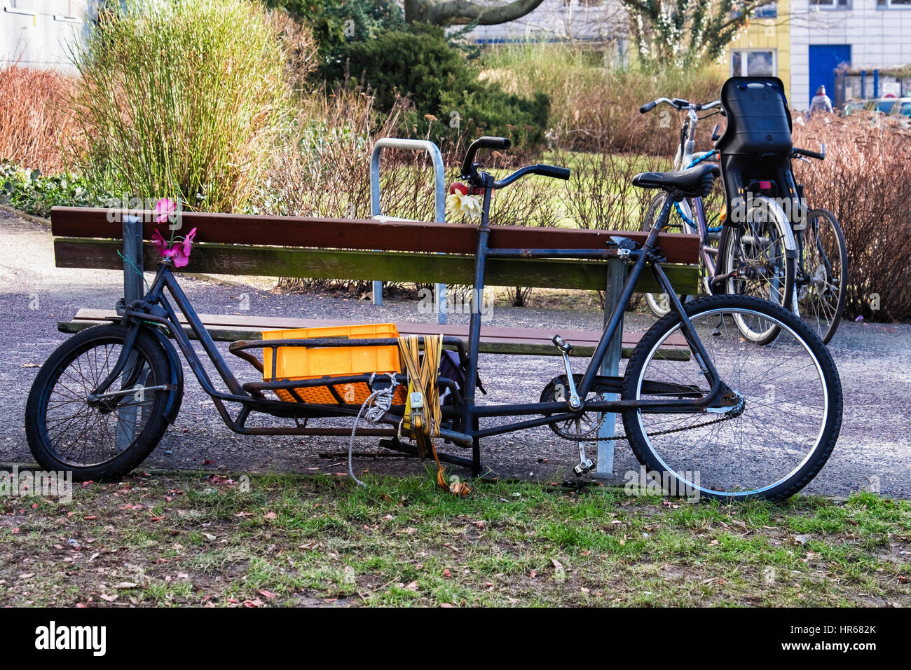 Elongated modified bicycle  with basket for carrying goods. Unusual bike modification.Delivery bicycle. - Stock Image
