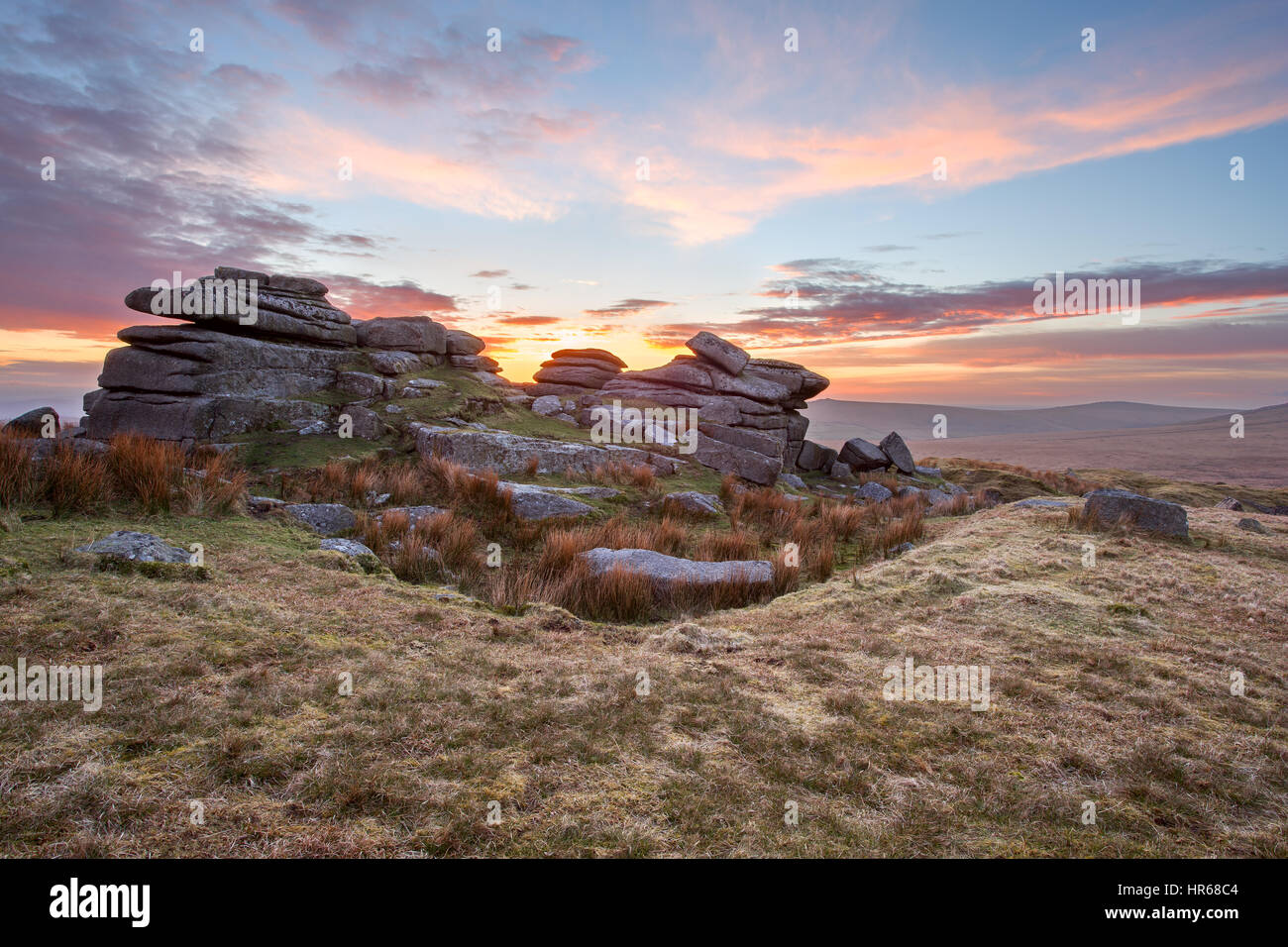 Sunset on North Hessary Tor Dartmoor national Park Devon UK - Stock Image