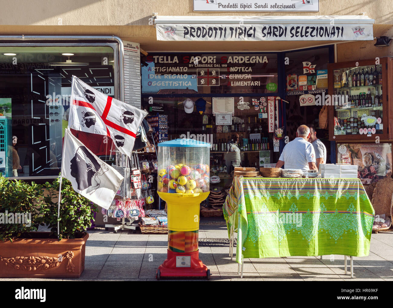 Front outdoor view of typical grocery and souvenir shop in Sardinia, Italy - Stock Image