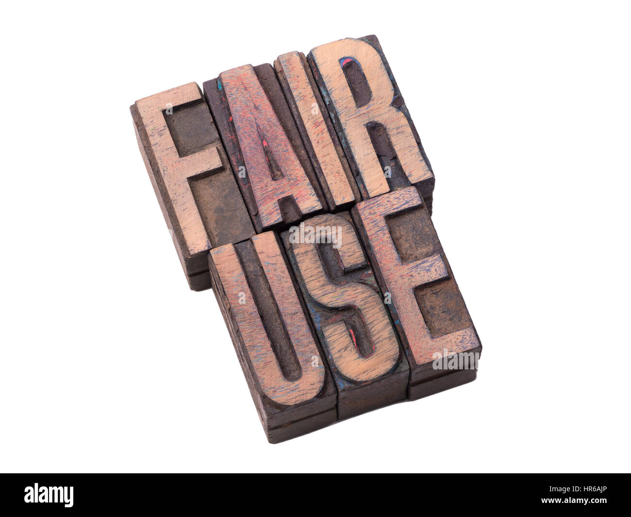 fair use phrase made from vintage wooden letterpress type isolated on white - Stock Image
