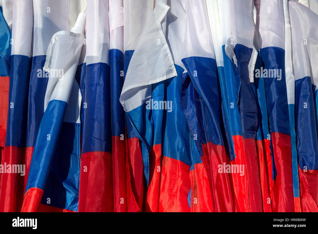 Many flags of Russian Federation during a public event - Stock Image