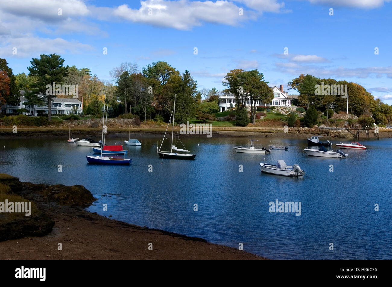 The harbor in the seaside  town of Manchester by the Sea, Massachusetts - Setting for the movie of the same name. Stock Photo