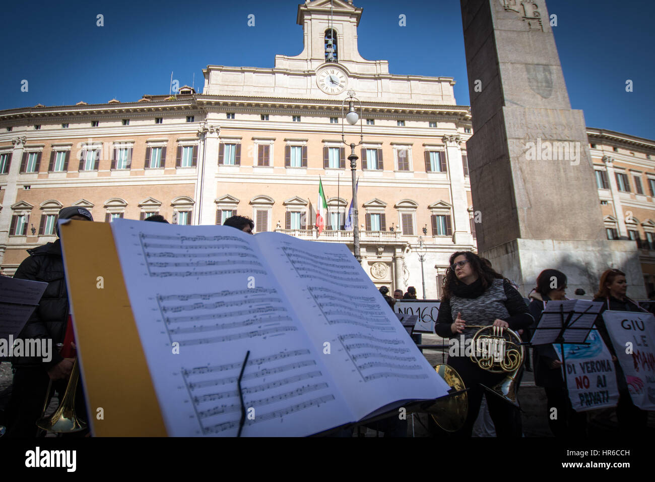 Rome, Italy. 27th Feb, 2017. Protest in music at Montecitorio. Taking to the streets with trombones, saxophones Stock Photo