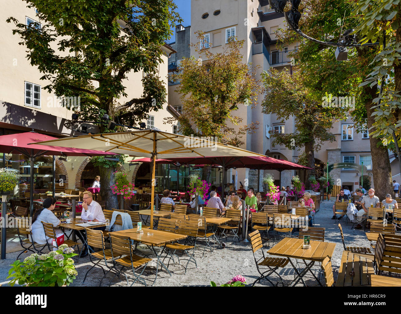 Sternbräu beer garden in the old town, Salzburg, Austria - Stock Image