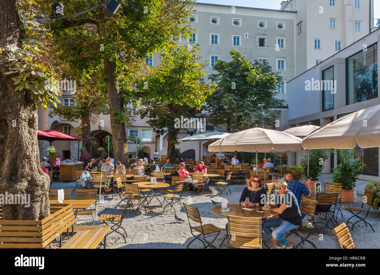 Sternbräu beer garden / cafe in the old town, Salzburg, Austria - Stock Image