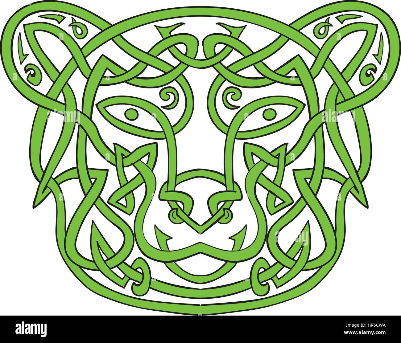 Illustration Of Stylized Bear Made In Celtic Knot Called Icovellavna Plait Work Or Knotwork Woven Into Unbroken Cord Design