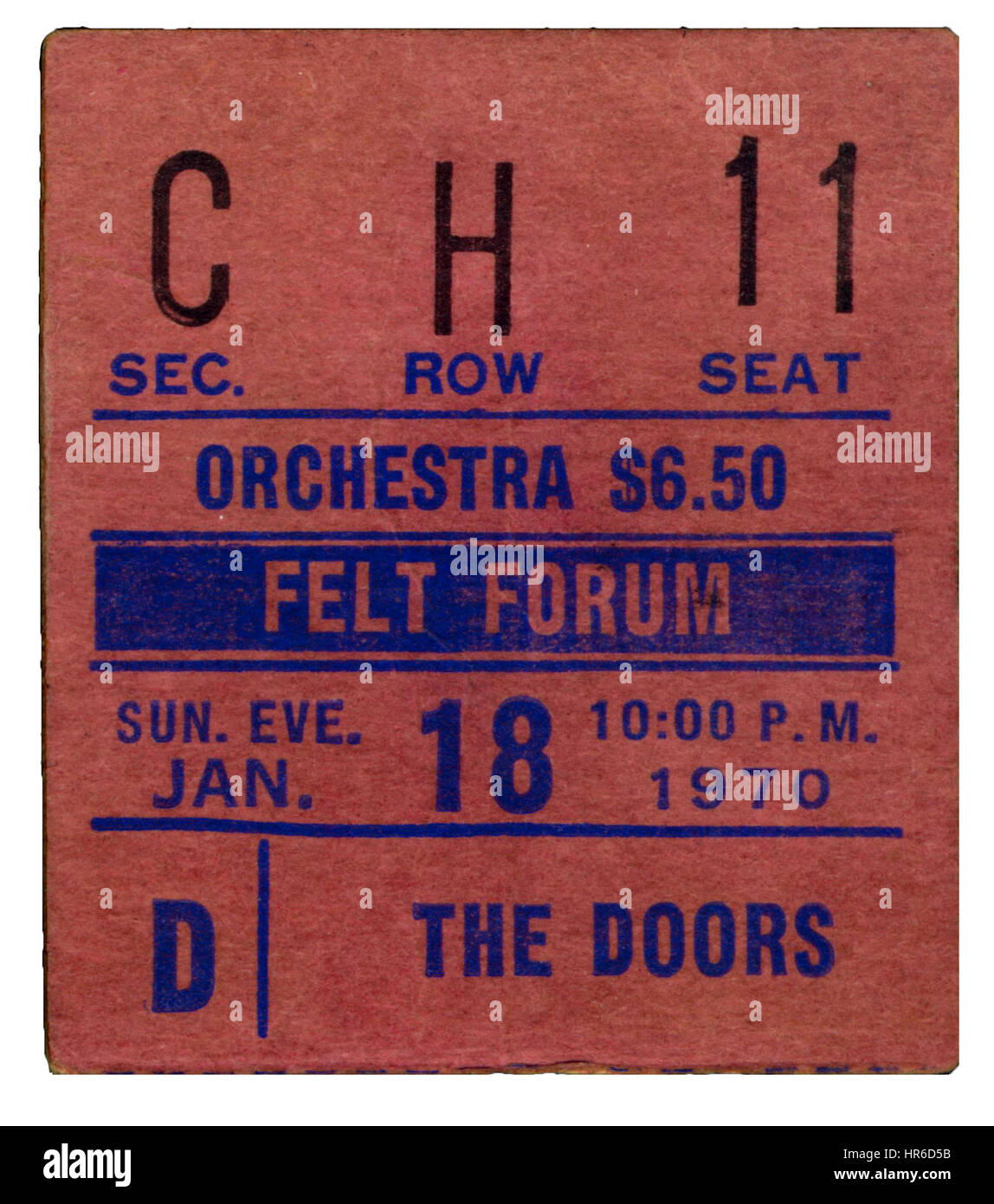 Ticket Stub of The Doors performing at Felt Forum in New York City on January 18th, 1970 - Stock Image