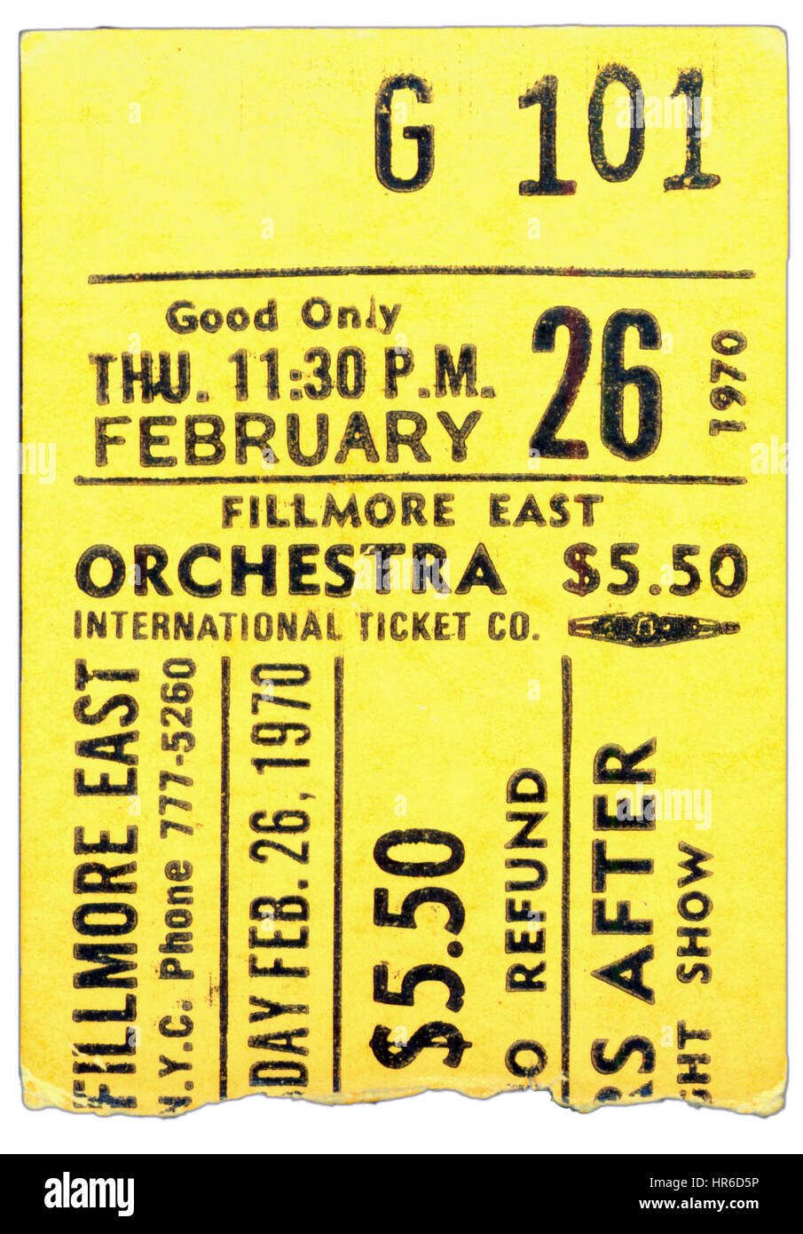Ticket Stub of Ten Years After performing at Fillmore East in New York City on February 26th, 1970 - Stock Image