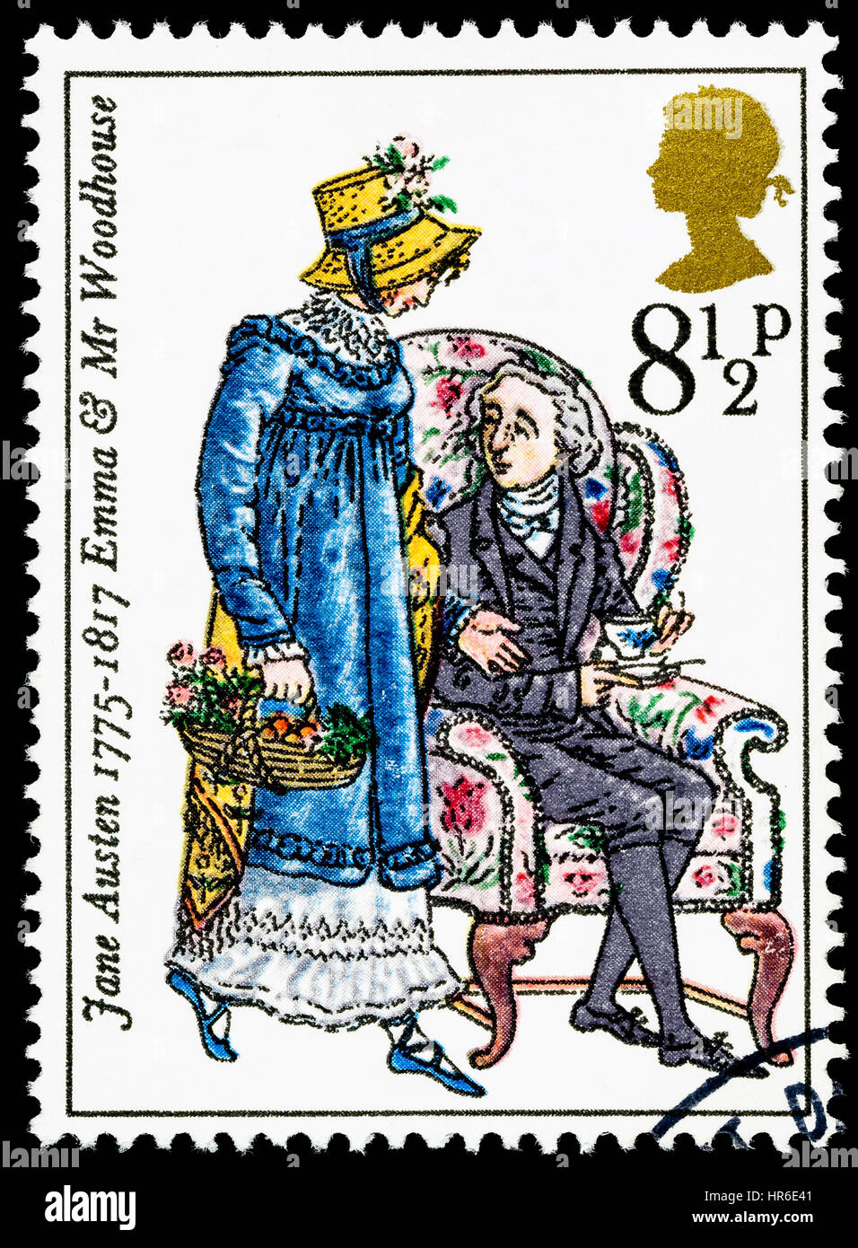 UNITED KINGDOM - CIRCA 1975: used postage stamp printed in Britain commemorating the Bicentenary of the Writer Jane - Stock Image