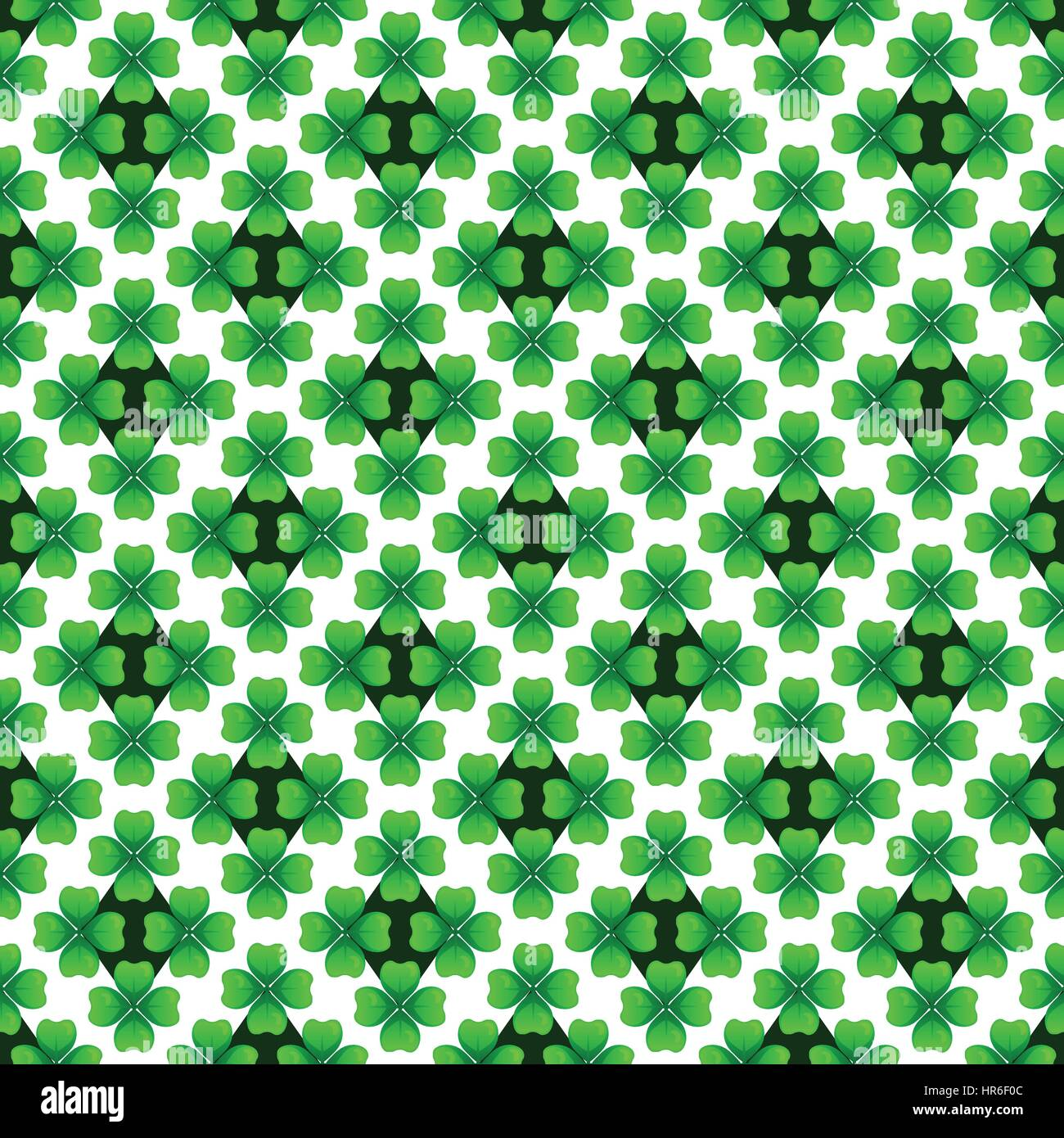 Green clover with four leaves. Sprig against dark rhombus. St Patricks Day seamless pattern. Vector tileable design - Stock Vector