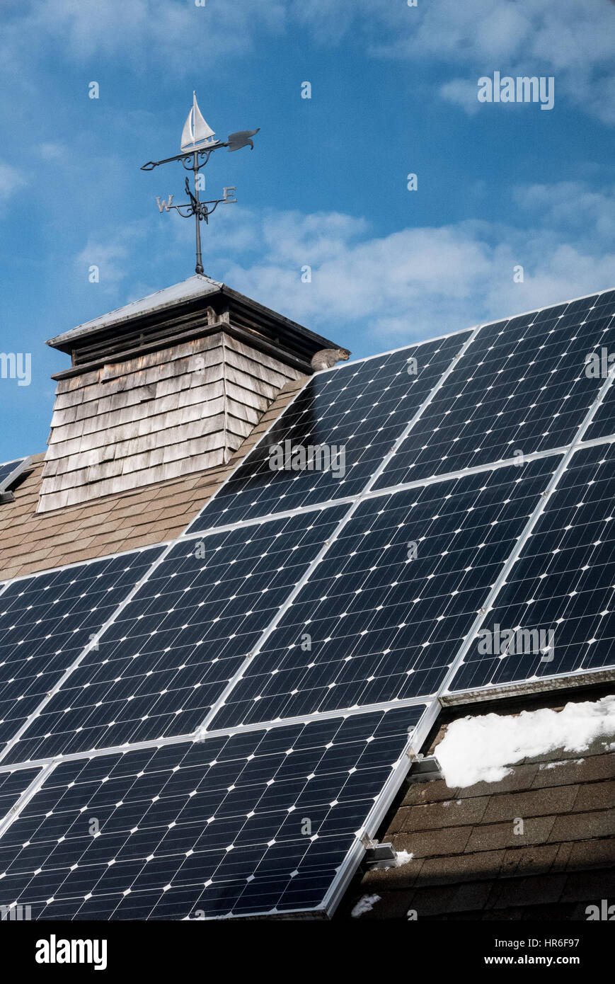 solar panels in winter with weather vane atop cupola - note squirrel next to cupola on roofline - Stock Image